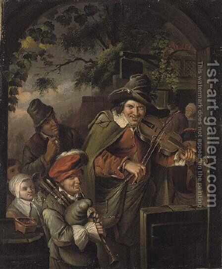 Musicians at the entrance to an Inn by (after) Willem Van Mieris - Reproduction Oil Painting
