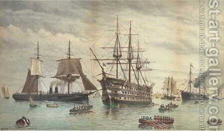H.M.S. Victory amidst ironclads lying at anchor in the harbour, Portsmouth by (after) William Edward Atkins - Reproduction Oil Painting
