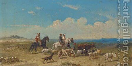 Arabs on horseback moving the herd by (after) William Raymond Dommersen - Reproduction Oil Painting