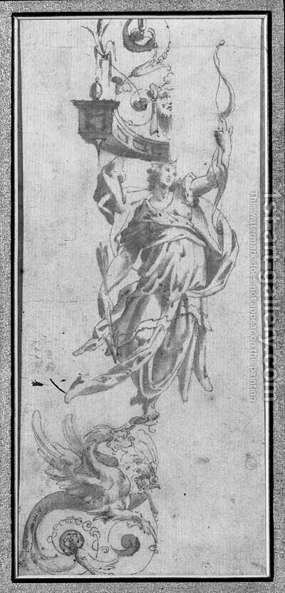 Study for a wall decoration A female figure holding a bow, standing on a griffon and supporting a cornice by (circle of) Marchetti, Marco (Marco da Faenza) - Reproduction Oil Painting