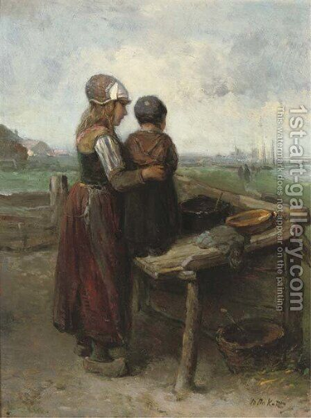 Eagerly anticipating the return, Marken by Jan Mari Henri Ten Kate - Reproduction Oil Painting