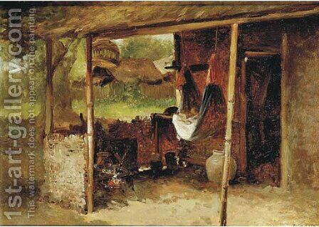 In the kampong by Jan Mari Henri Ten Kate - Reproduction Oil Painting