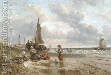Playing on the beach by Jan Mari Henri Ten Kate - Reproduction Oil Painting