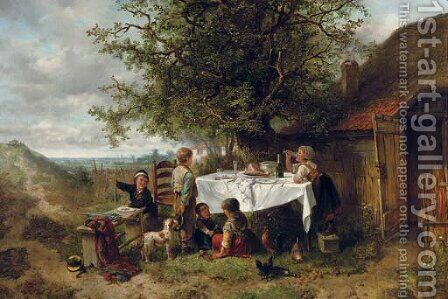 The dinner party by Jan Mari Henri Ten Kate - Reproduction Oil Painting