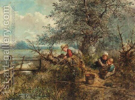 Young anglers by Jan Mari Henri Ten Kate - Reproduction Oil Painting