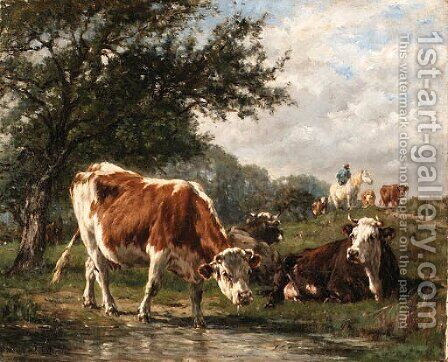 Vaches dans un prairie by Marie Dieterle - Reproduction Oil Painting