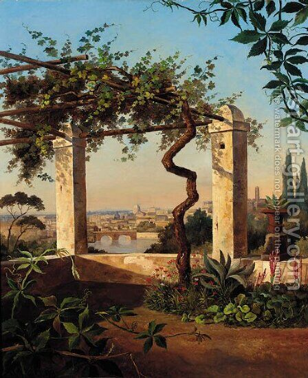 A view of Rome from a sunlit terrace by Marie Khull - Reproduction Oil Painting