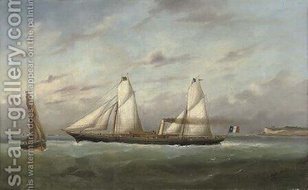 The steam yacht Eros outward-bound from Le Havre by Marie-Edouard Adam Of Le Havre - Reproduction Oil Painting