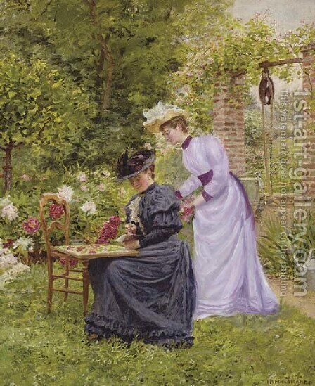 Dans le jardin by Marie Francois Firmin-Girard - Reproduction Oil Painting