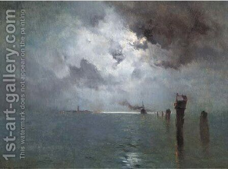 The Venetian lagoon at night by Marie Joseph Leon Clavel Iwill - Reproduction Oil Painting