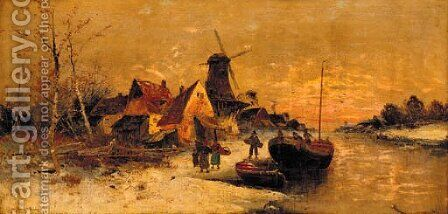 Figures unloading a boat by a village on a Dutch river by Marinus A. Van Straten - Reproduction Oil Painting