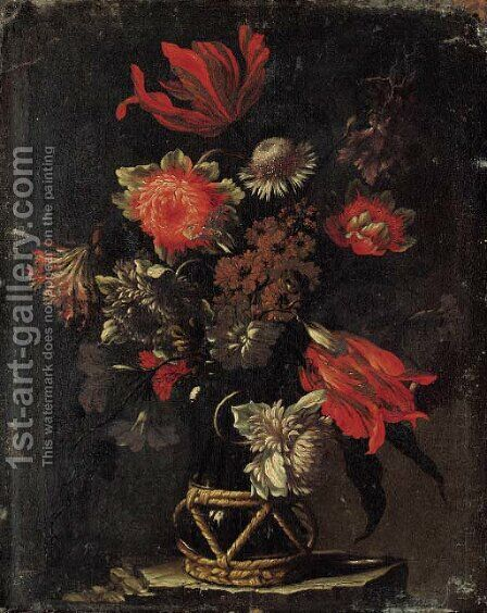 Parrot tulips, chrysanthemums, a thistle, and other flowers in a vase on a stone ledge by dei Fiori (Nuzzi) Mario - Reproduction Oil Painting