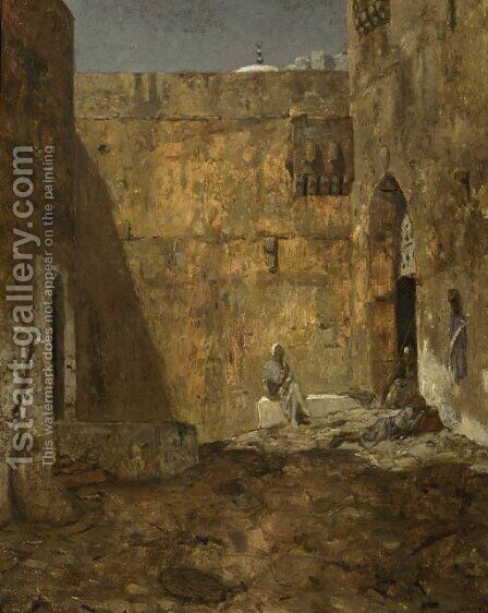 Wachters op een binnenplaats guards by a gate at moonlight by Marius Bauer - Reproduction Oil Painting