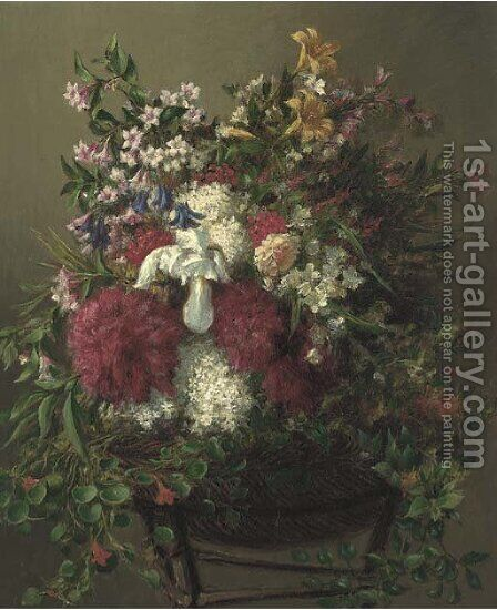 Summer flowers in a basket by Mark Fischer - Reproduction Oil Painting