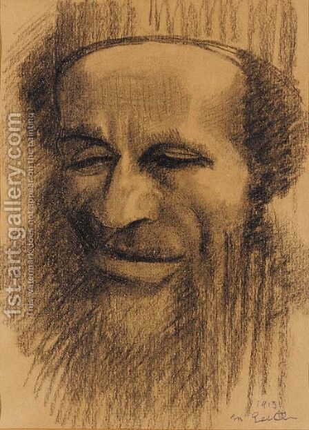 Head of a Rabbi 2 by Mark Gertler - Reproduction Oil Painting