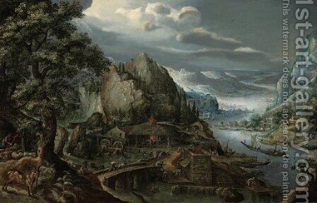 A mountainous river valley, with an iron foundry, a town in the distance by Marten Van Valkenborch I - Reproduction Oil Painting