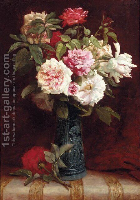 Roses in a vase on a mantle by Martial Hupe - Reproduction Oil Painting