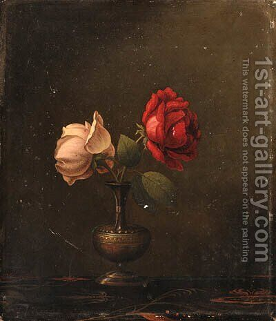 Still Life with Red and Pink Roses by Martin Johnson Heade - Reproduction Oil Painting