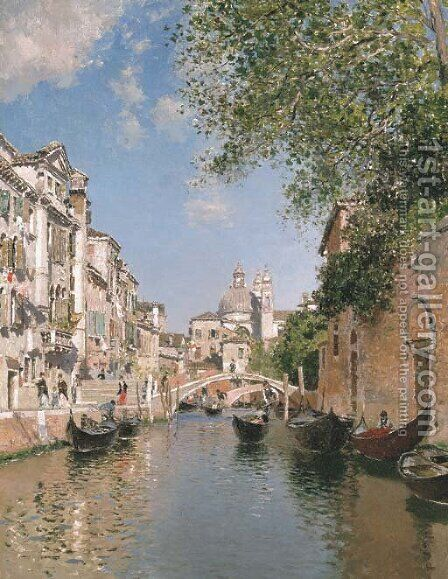 Gondolas on a Canal, Venice by Martin Rico y Ortega - Reproduction Oil Painting