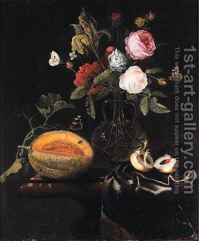 Roses, an iris and other flowers in a glass vase, a melon and a peach with butterflies on a draped marble table by Marten Nellius - Reproduction Oil Painting