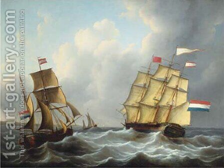 The threemaster 'Louisa Prinses der Nederlanden' in full sail by Martinus Schouman - Reproduction Oil Painting