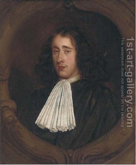 Portrait of justice John Shelden, bust-length, in a black robe and white stock, feigned cartouche by Mary Beale - Reproduction Oil Painting