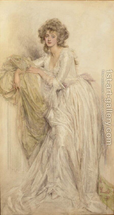 A portrait of a lady, full-length resting on a pilaster by Mary L. Gow - Reproduction Oil Painting