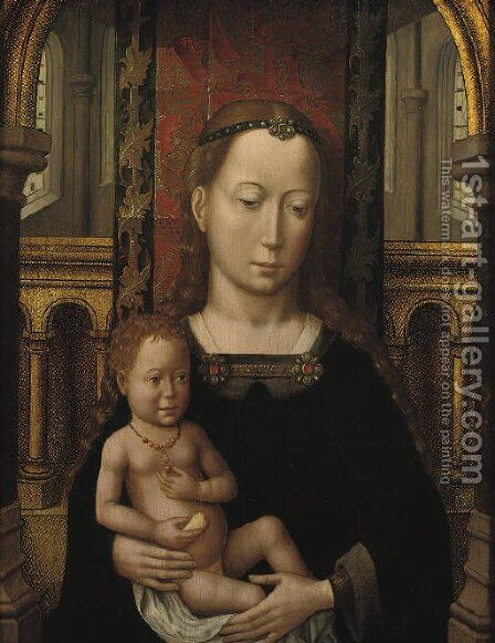 The Virgin and Child seated in a church interior by Master Of San Ildefonso - Reproduction Oil Painting