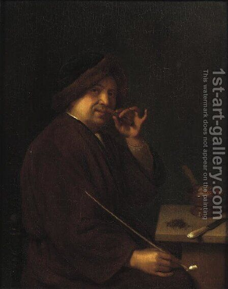 A young man seated at a table holding a cigar in one hand and a pipe in the other; an Allegory of Smell by Mathijs Wulfraet - Reproduction Oil Painting