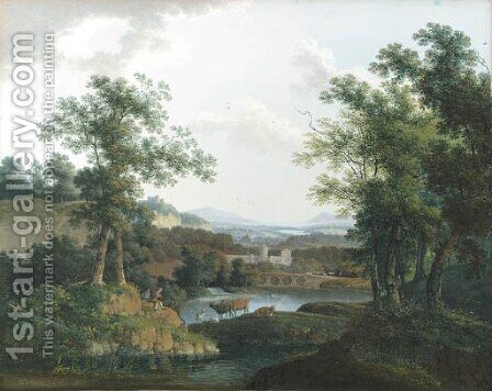 An extensive wooded river landscape with shepherds and their cattle in the foreground, a city beyond by Mattheus Derk Knip - Reproduction Oil Painting
