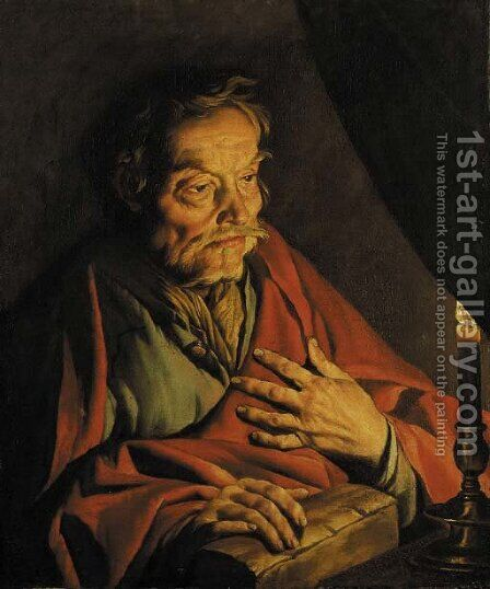 Saint Matthew by candlelight by Matthias Stomer - Reproduction Oil Painting