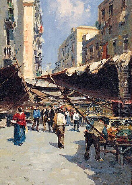 A Market before the Entrance to a Town by Alberto Pasini - Reproduction Oil Painting