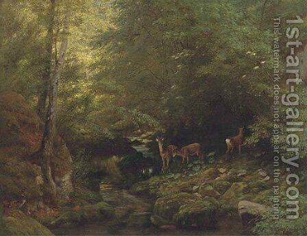 Deer in a river landscape by Albert Girard - Reproduction Oil Painting