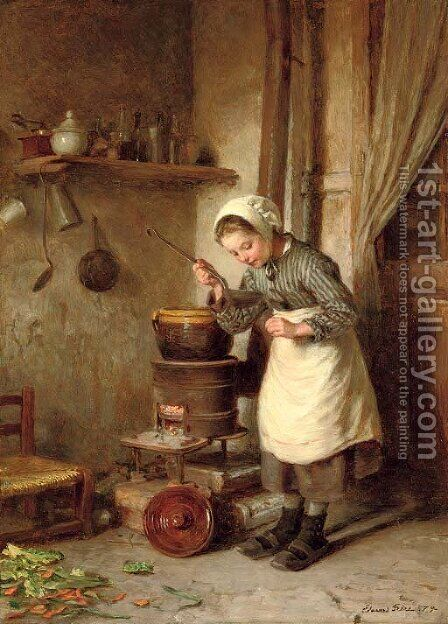 The young cook by Edouard Frère - Reproduction Oil Painting