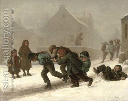 Fun in the snow by Edouard Frère - Reproduction Oil Painting