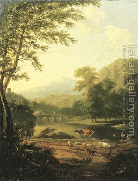 An Italiante river landscape, with a peasant woman returning from a market by Barend Gael or Gaal - Reproduction Oil Painting