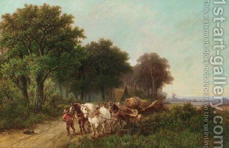 A woodlogger leading a four-in-hand by Hendrik Pieter Koekkoek - Reproduction Oil Painting