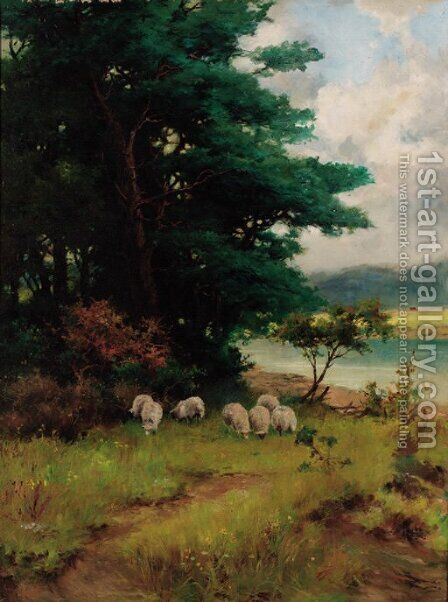 Sheep grazing in a wooded river landscape by Camille Pissarro - Reproduction Oil Painting