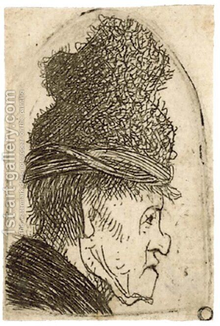A grotesque Profile Man in a high Cap by Harmenszoon van Rijn Rembrandt - Reproduction Oil Painting