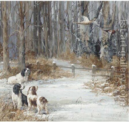 Sandringham Susan and two other spaniels of George V by Binks, R. Ward - Reproduction Oil Painting