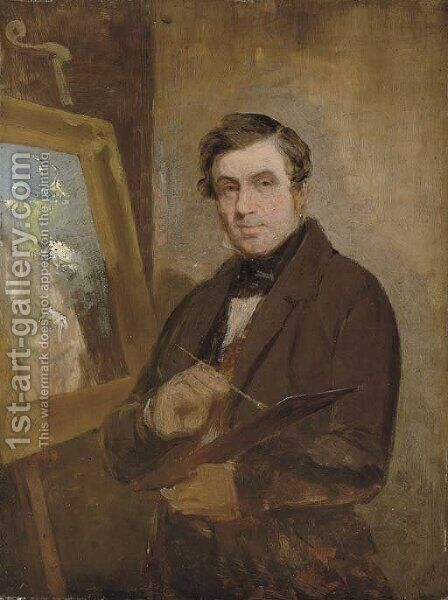 Self-portrait at an easel, 14 November 1816 by (after) Thomson, Rev. John of Duddingston - Reproduction Oil Painting