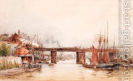The Tower Bridge works from the Tower Wharf, London by (after) Hubert James Medlycott - Reproduction Oil Painting