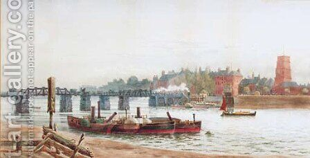 Battersea Bridge and Old Chelsea Church by (after) Hubert James Medlycott - Reproduction Oil Painting