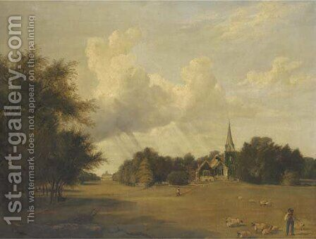 Stoke Poges by (after) Thomas James Judkin - Reproduction Oil Painting