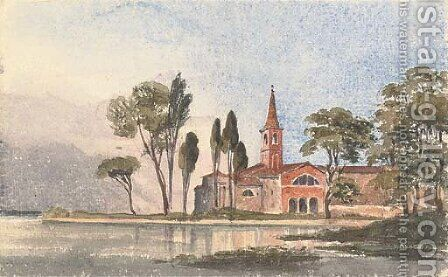 The Cathedral on the Island of Torcello on the Lagoon of Venice by Harriet Cheney - Reproduction Oil Painting