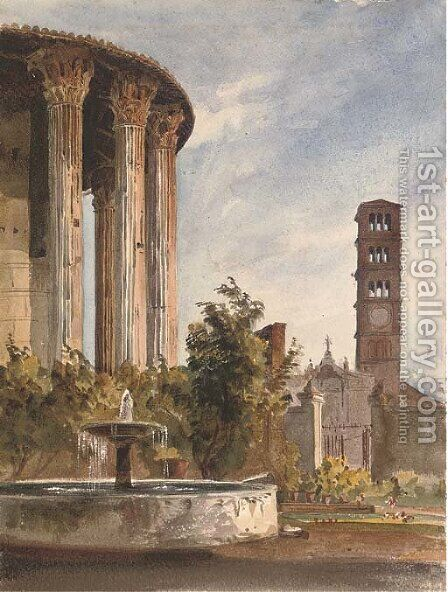 The gardens of the Palazzo Cenci-Bolognetti, Rome by Harriet Cheney - Reproduction Oil Painting