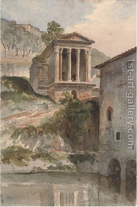 The Temple of Clitumnus, Umbria by Harriet Cheney - Reproduction Oil Painting