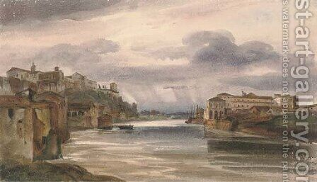 View of the Tiber from the Villa Bolognetti, Rome by Harriet Cheney - Reproduction Oil Painting