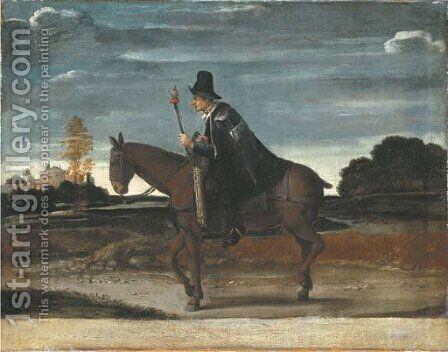 A landscape with a cloaked figure riding a donkey by (after) Annibale Carracci - Reproduction Oil Painting