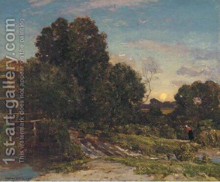 Moonrise, The mill by Herbert Hughes Stanton - Reproduction Oil Painting